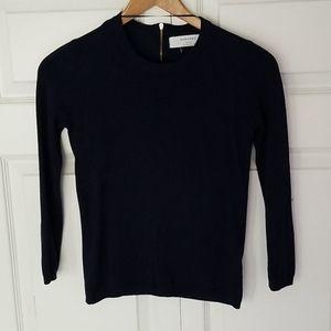 Zara Knit navy 3/4 sleeve sweater s